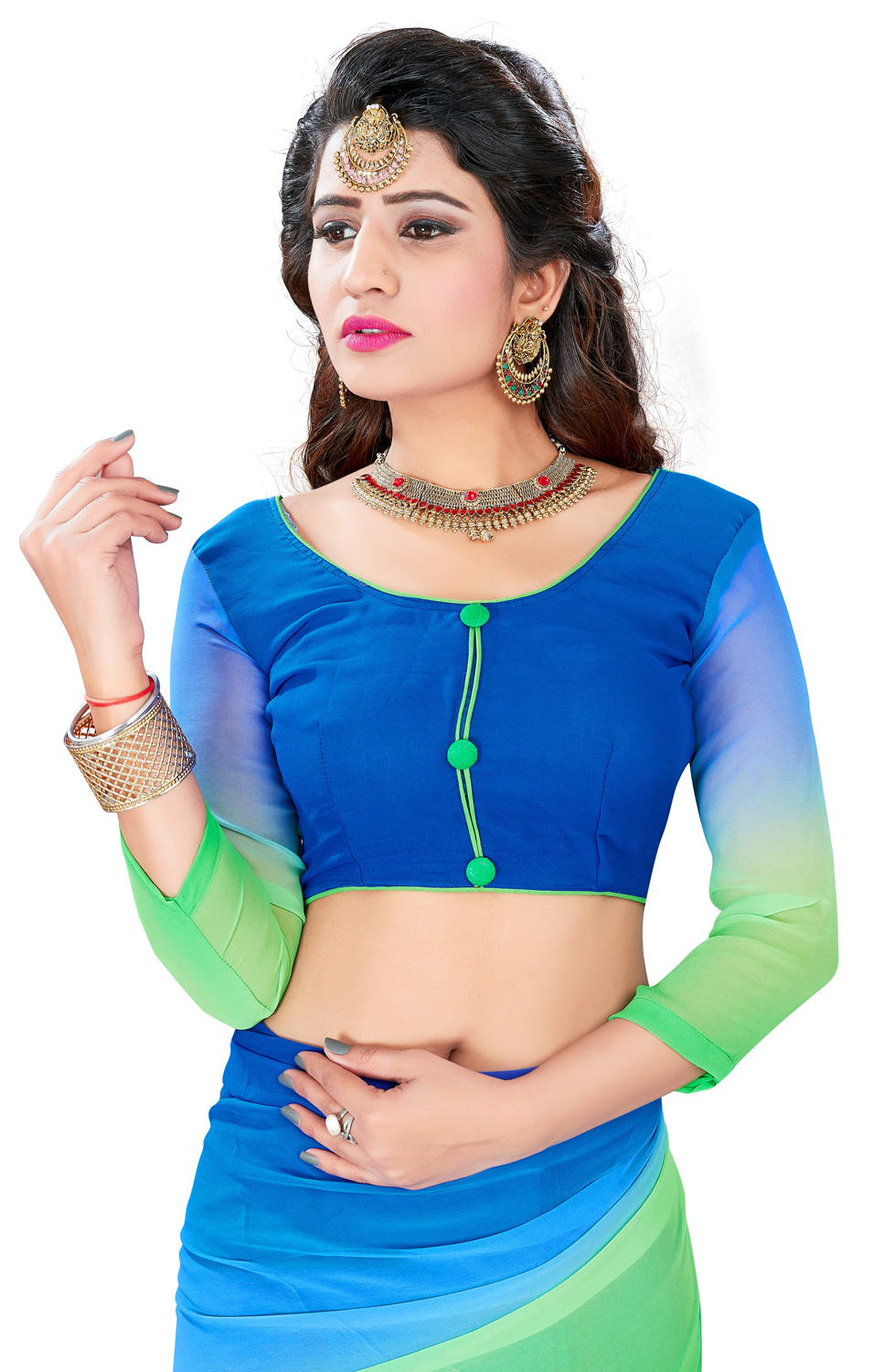 Mesmerising Blue-Green Colored Casual Wear Georgette Saree