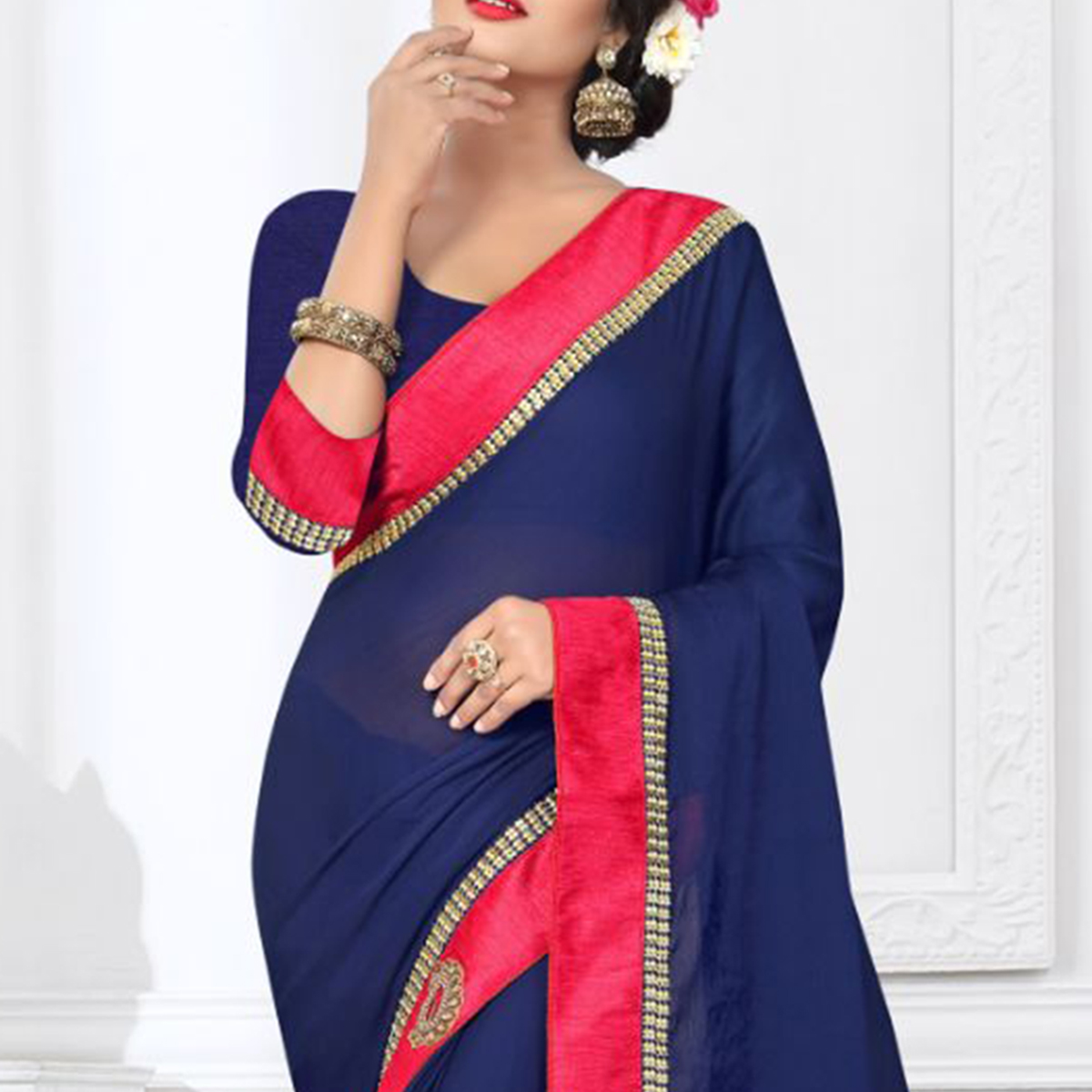 Charming Navy Blue Colored Partywear Satin Silk Saree