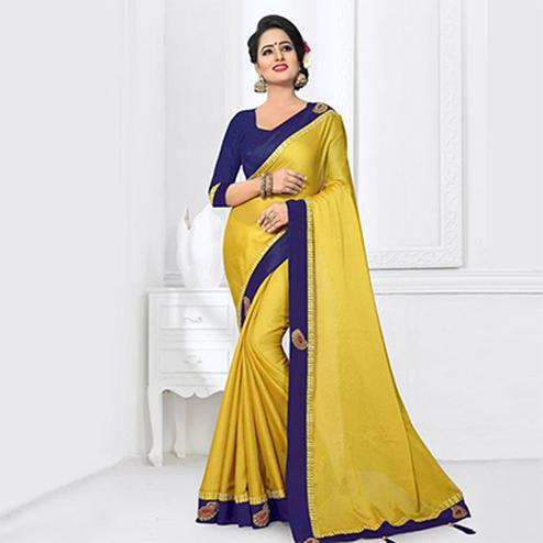 Attractive Yellow Colored Partywear Satin Silk Saree