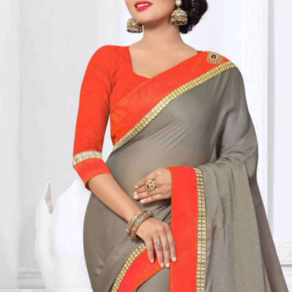 Trendy Grey Colored Partywear Silk Saree