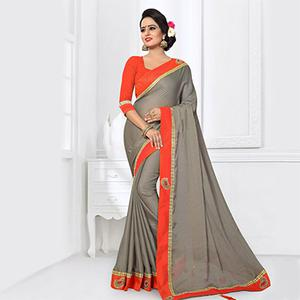 Trendy Grey Colored Partywear Satin Silk Saree