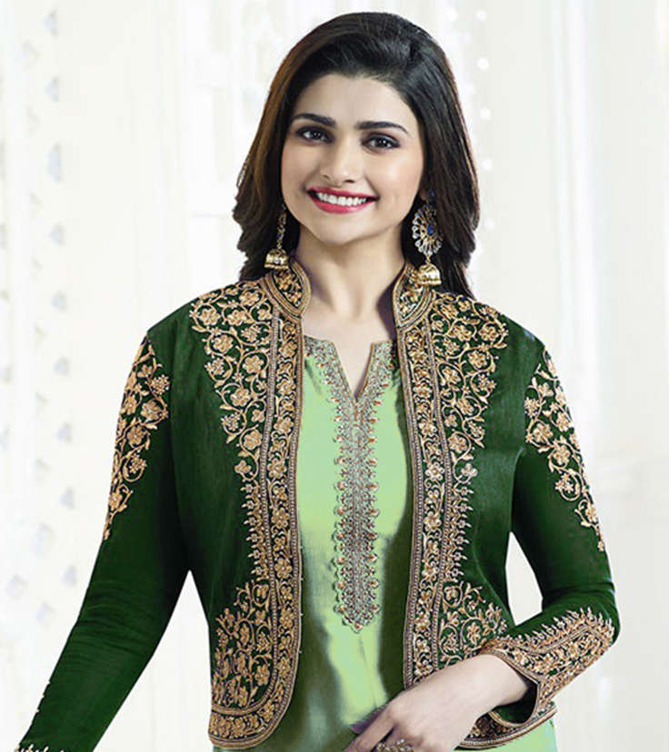 Light Green Jacket Style Embroidered Suit