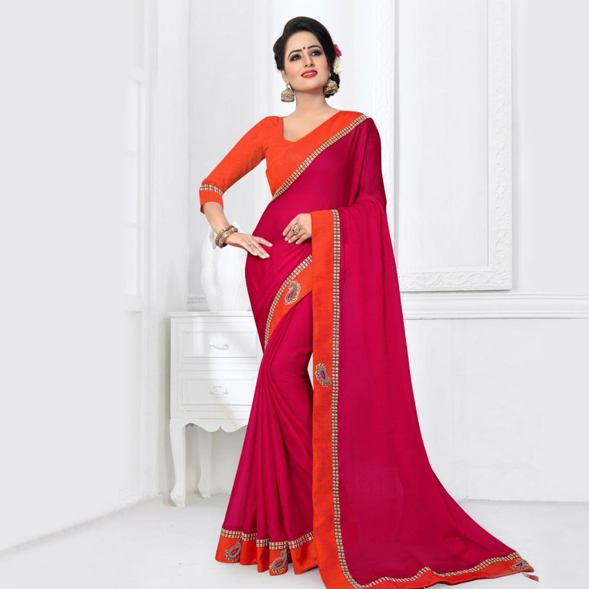 Hot Pink Colored Partywear Silk Saree