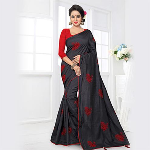 Bold Black Colored Partywear Zoya Silk Saree