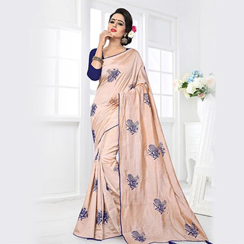 Pleasant Cream Colored Partywear Zoya Silk Saree