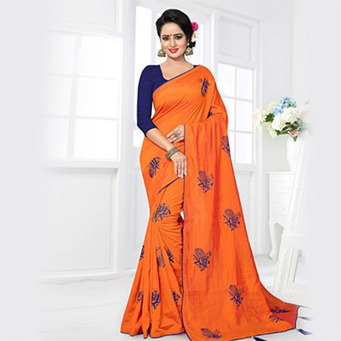 Traditional Orange Colored Partywear Zoya Silk Saree
