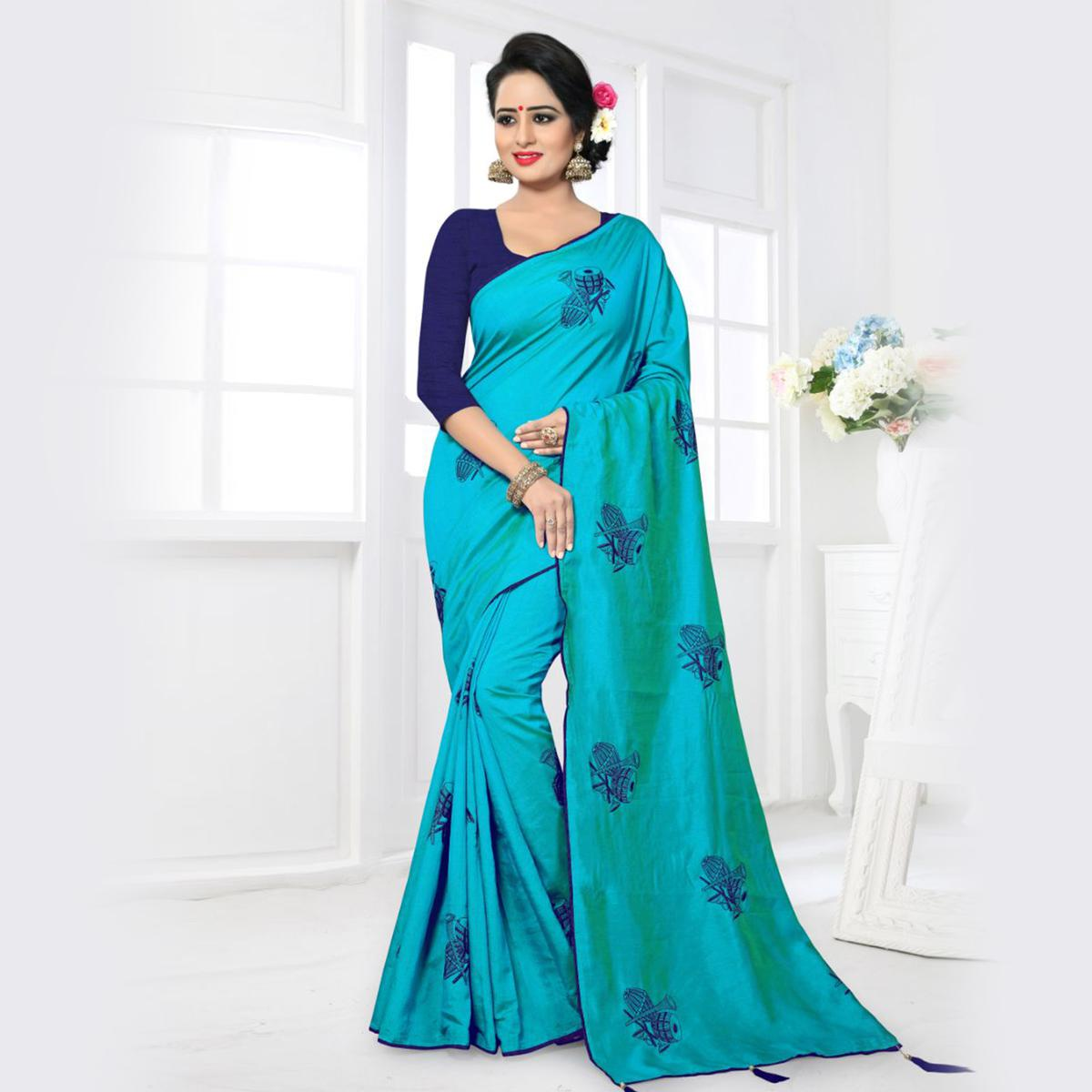 Eye-catching Sky Blue Colored Partywear Zoya Silk Saree