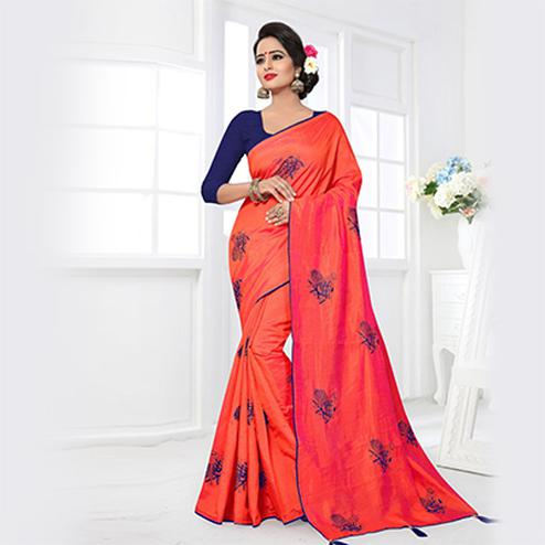 Ravishing Orange Colored Partywear Zoya Silk Saree