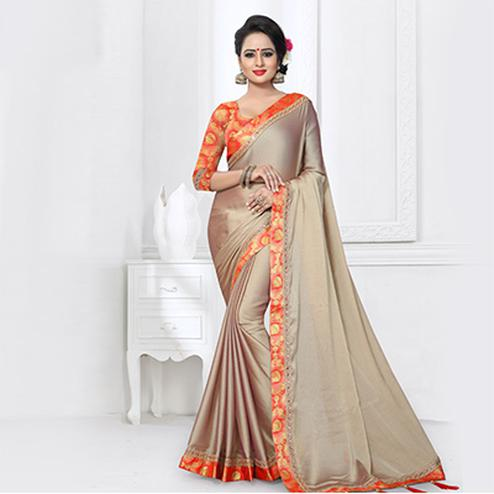 Tiptop Beige Colored Partywear Satin Silk Saree