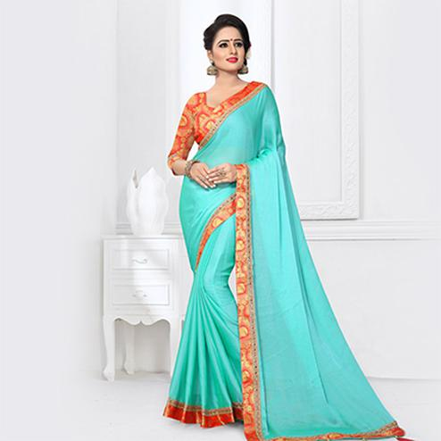 Observable Aqua Blue Colored Partywear Satin Silk Saree