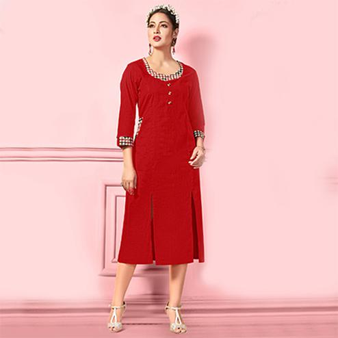 Majesty Red Designer Fancy Cotton Kurti