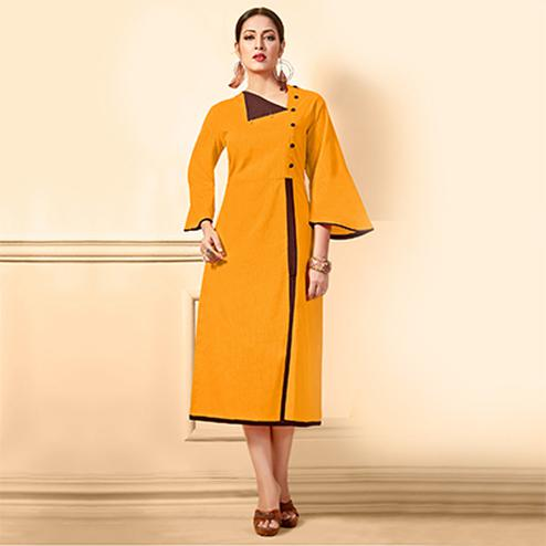 Awesome Yellow Designer Fancy Cotton Kurti