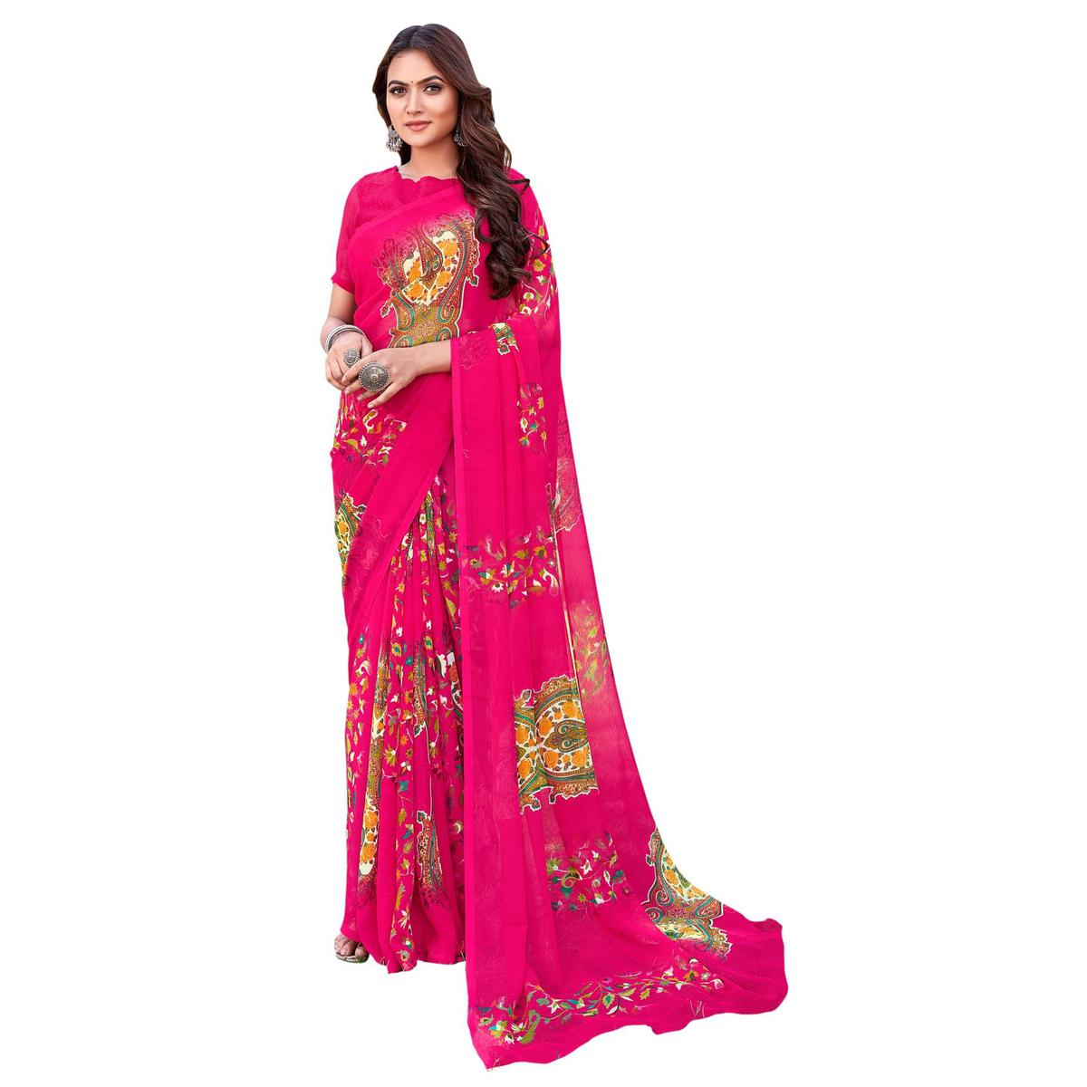 Triveni Pink Color Chiffon Casual Wear Abstract Printed Saree With Blouse Piece
