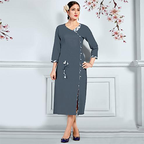 Precious Grey Designer Fancy Cotton Kurti