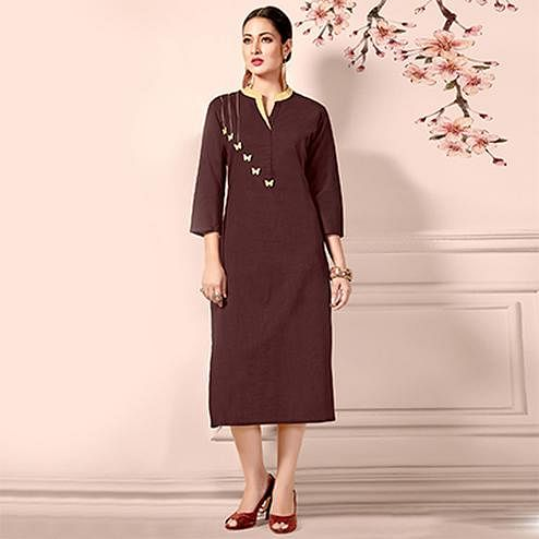 Adorning Brown Designer Fancy Cotton Kurti