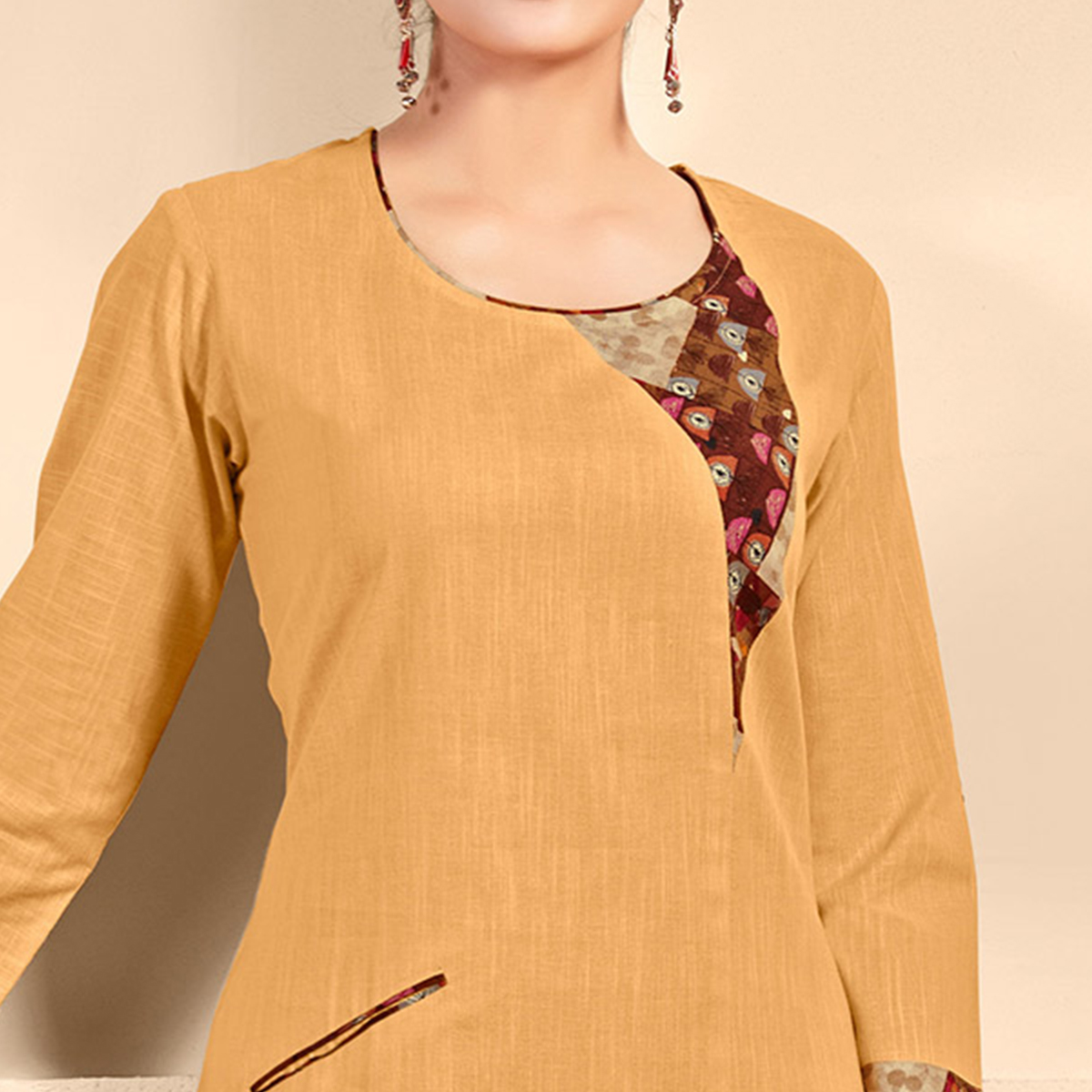 Energetic Beige Designer Fancy Cotton Kurti