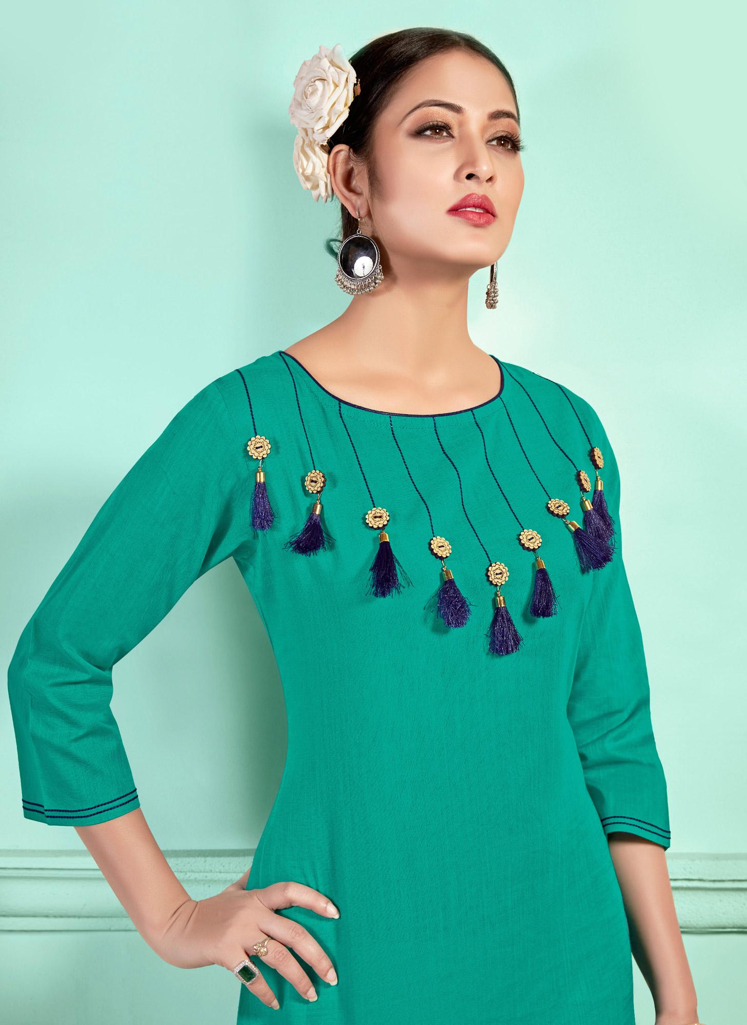Prominent Sea Green Designer Fancy Cotton Kurti