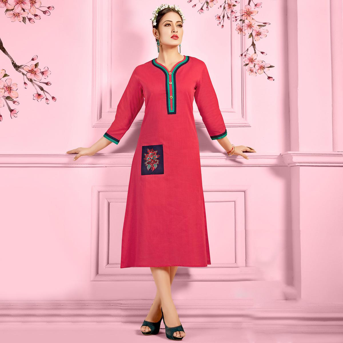 Glowing Pink Designer Fancy Cotton Kurti