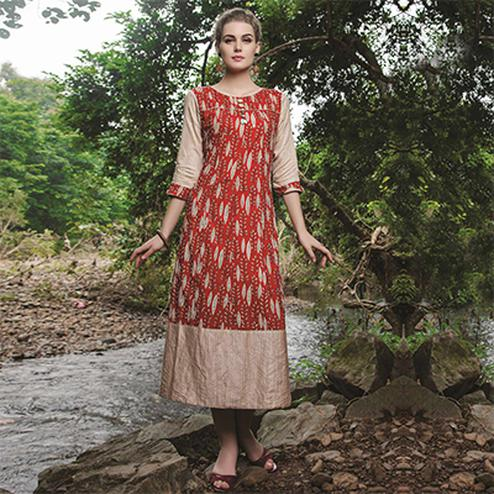 Surpassing Red-Beige Colored Casual Printed Cotton Kurti
