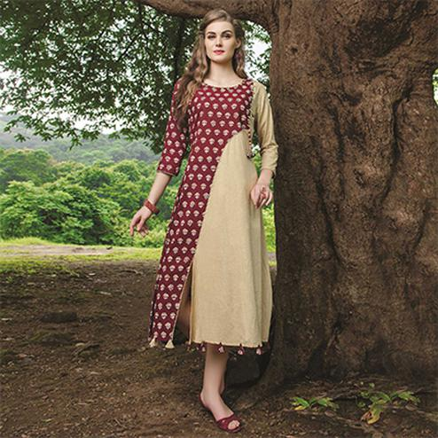 Hypnotic Maroon-Beige Colored Fancy Printed Cotton Kurti