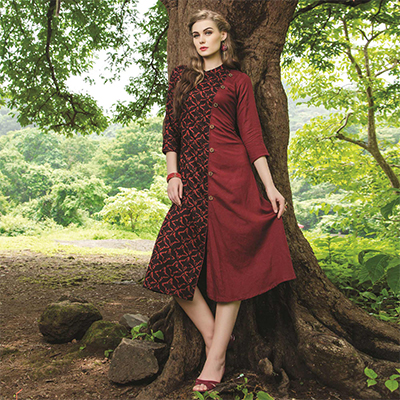 Fab Maroon-Black Colored Fancy Printed Cotton Kurti