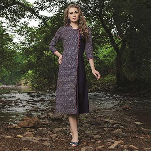 Spectacular Dark Purple Colored Fancy Printed Cotton Kurti