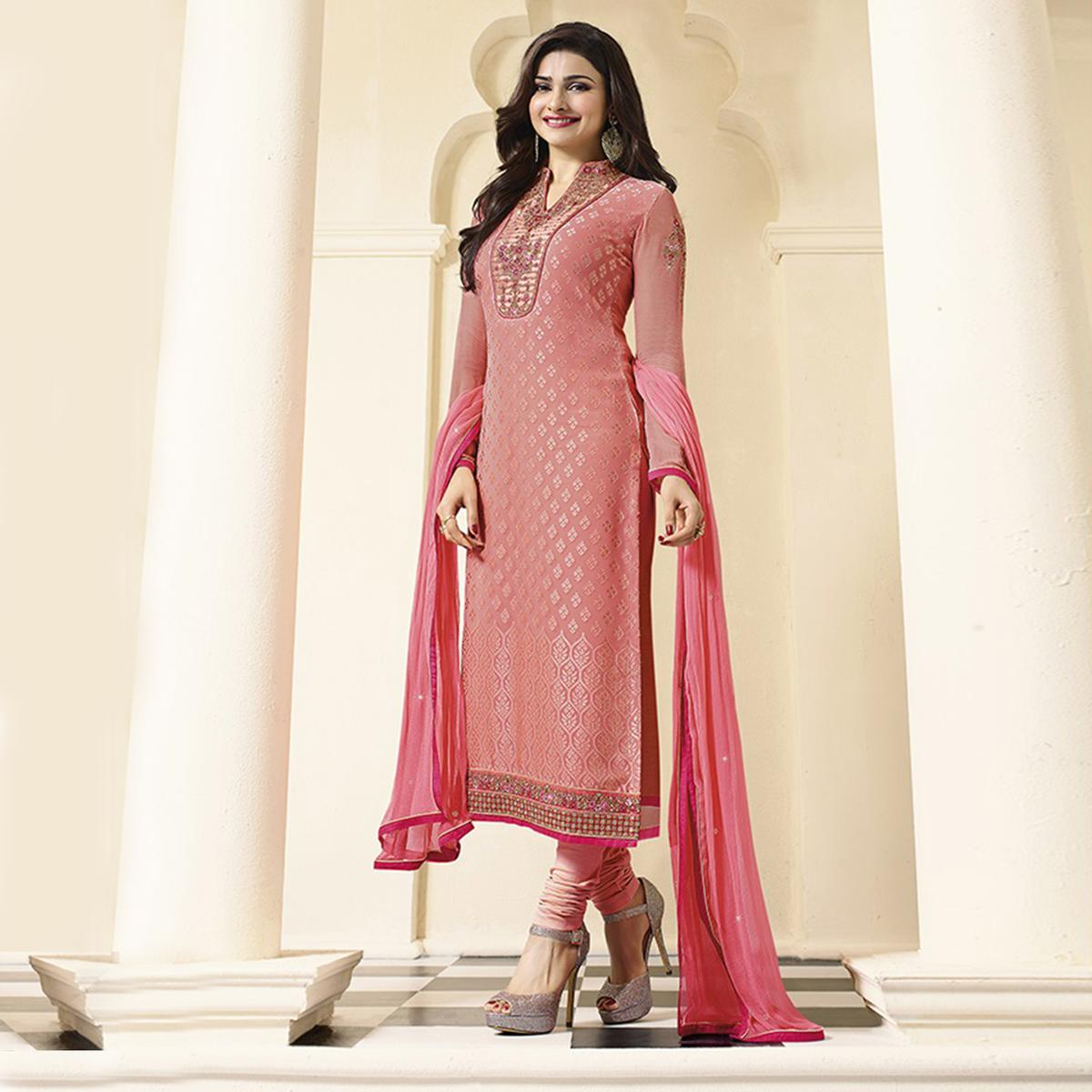 Peach Embroidered Straight Cut Suit