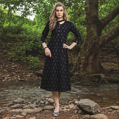 Mystic Black Colored Casual Printed Cotton Kurti