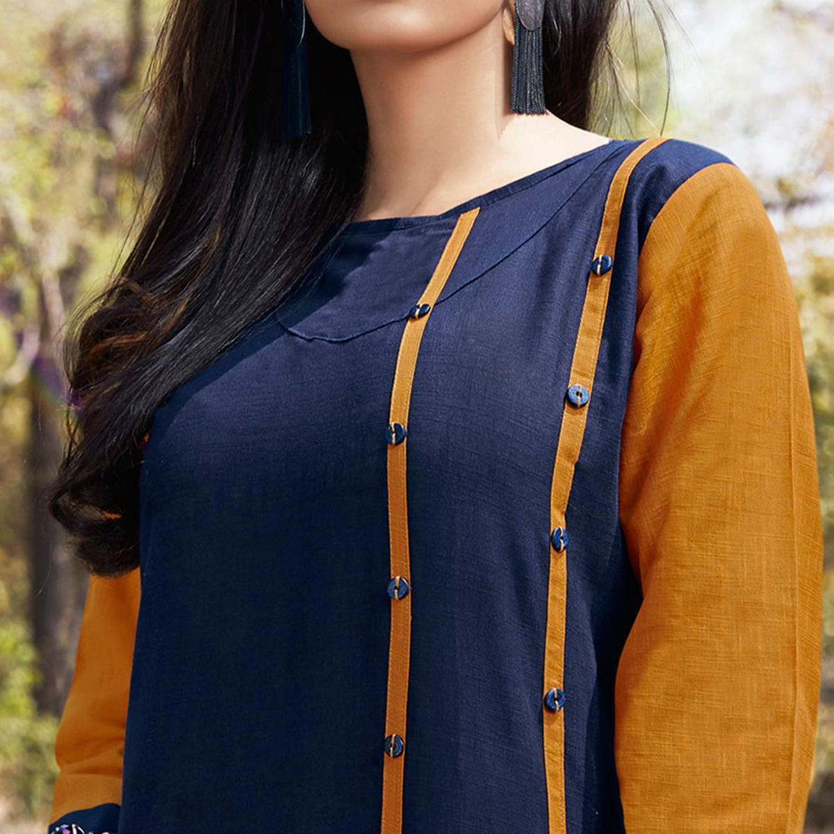 Graceful Navy Blue Casual Wear Cotton Kurti