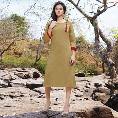Lovely Beige Casual Wear Cotton Kurti