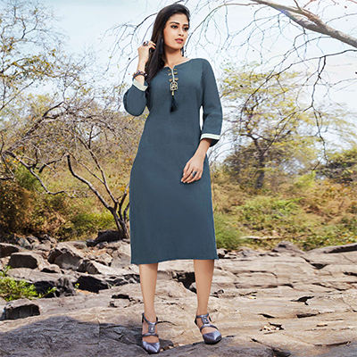 Elegant Grey Casual Wear Cotton Kurti