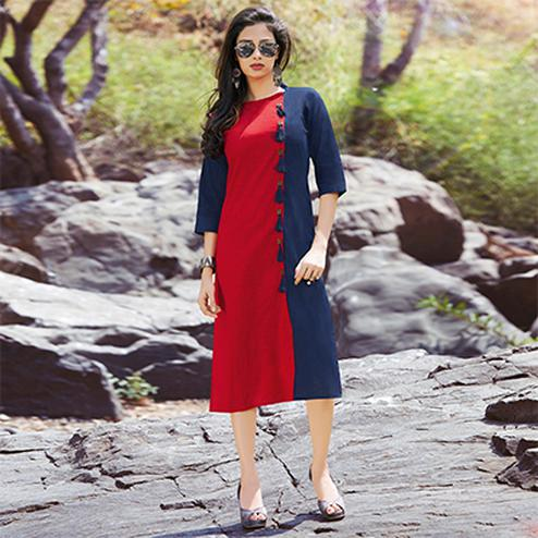 Ravishing Red & Blue Casual Wear Cotton Kurti