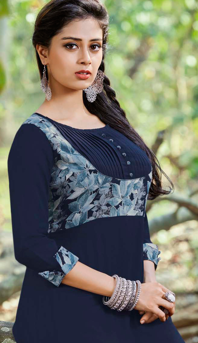 Attractive Navy Blue Colored Casual Printed Rayon-Cotton Kurti