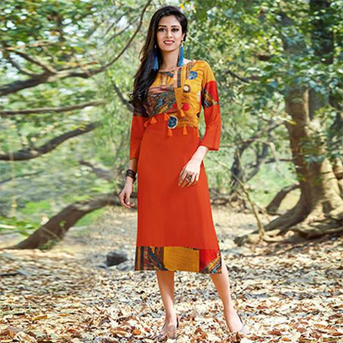 Glowing Orange Colored Casual Printed Rayon-Cotton Kurti