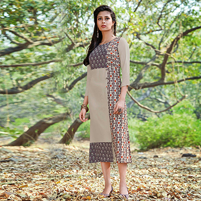 Trendy Grey Colored Casual Printed Rayon-Cotton Kurti