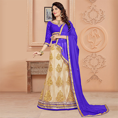 Gripping Blue Colored Designer Embroidered Net Lehenga Choli