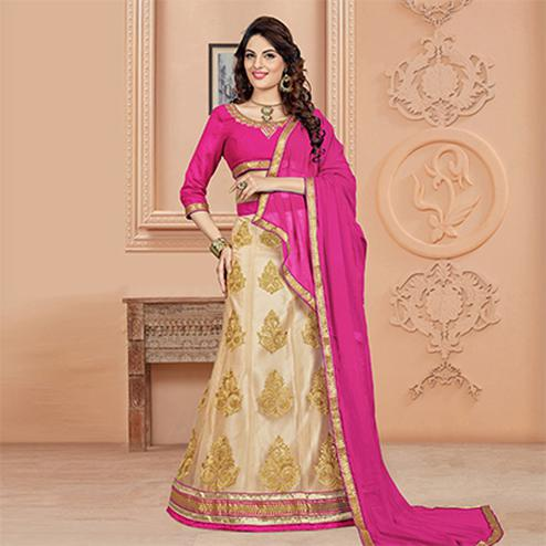 Pretty Pink Colored Designer Embroidered Net Lehenga Choli