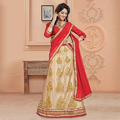 Attractive Red Colored Designer Embroidered Net Lehenga Choli