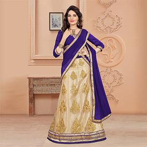 Perfect Purple Colored Designer Embroidered Net Lehenga Choli