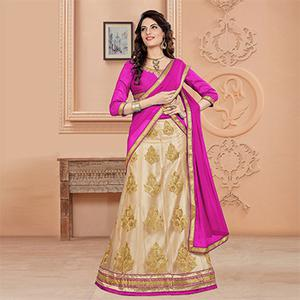 Refreshing Rani Pink Colored Designer Embroidered Net Lehenga Choli