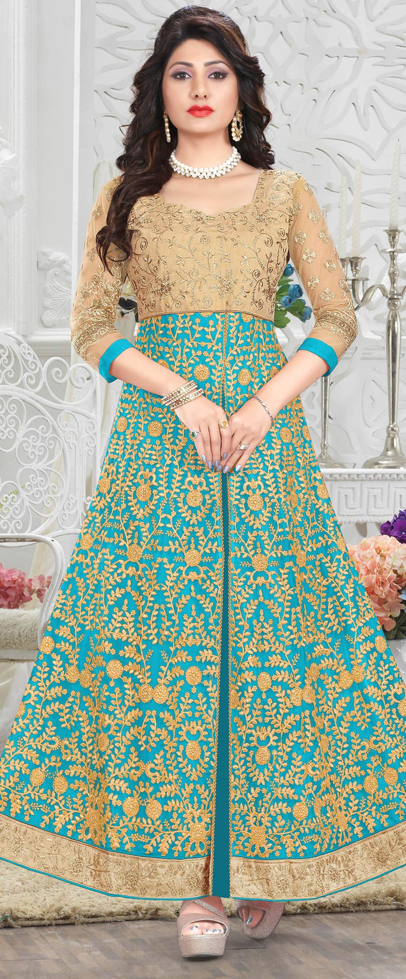 Gorgeous Turquoise Blue Heavy Embroiered Art Silk-Net Lehenga / Anarkali