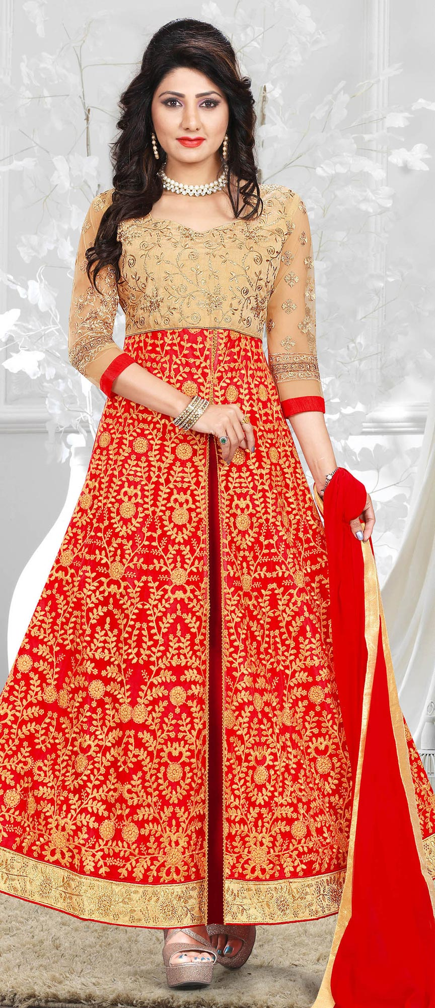 Red Heavy Embroiered Art Silk-Net Lehenga / Anarkali