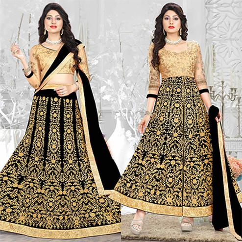Alluring Black Heavy Embroiered Art Silk-Net Lehenga / Anarkali