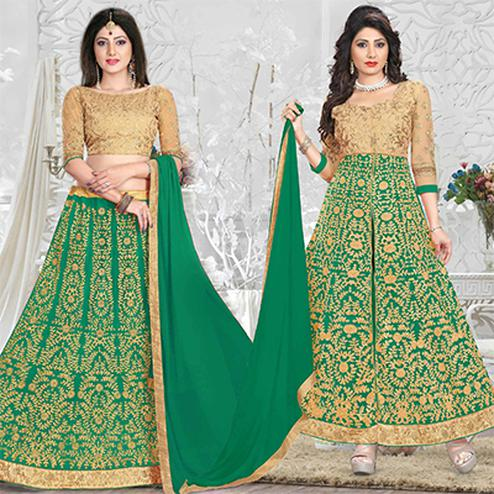 Sensational Green Heavy Embroiered Art Silk-Net Lehenga / Anarkali