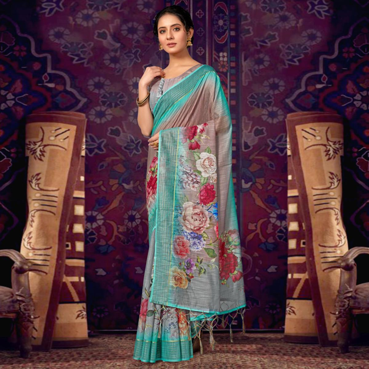 Brown Casual Wear Floral Soft Cotton Saree