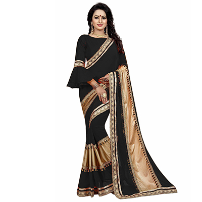 Black Colored Designer Partywear Marble Silk-Lycra Saree