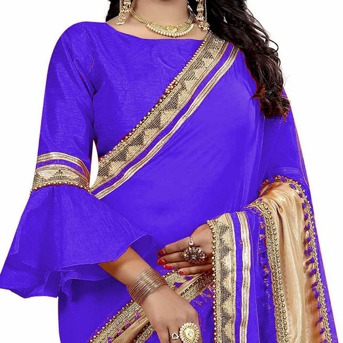 Blue Colored Designer Partywear Marble Silk-Lycra Saree