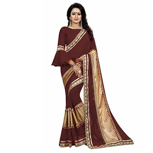 Brown Colored Designer Partywear Marble Silk-Lycra Saree