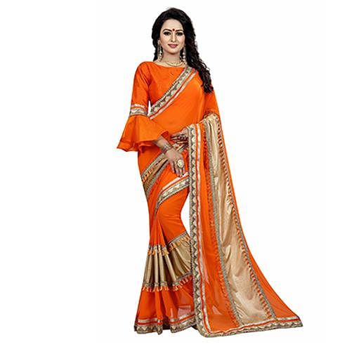 Orange Colored Designer Partywear Marble Silk-Lycra Saree