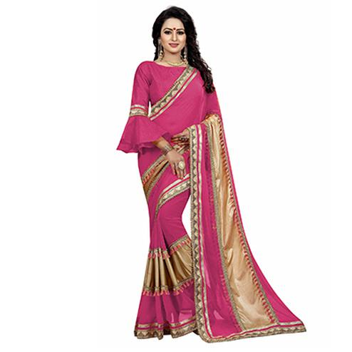 Pink Colored Designer Partywear Marble Silk-Lycra Saree